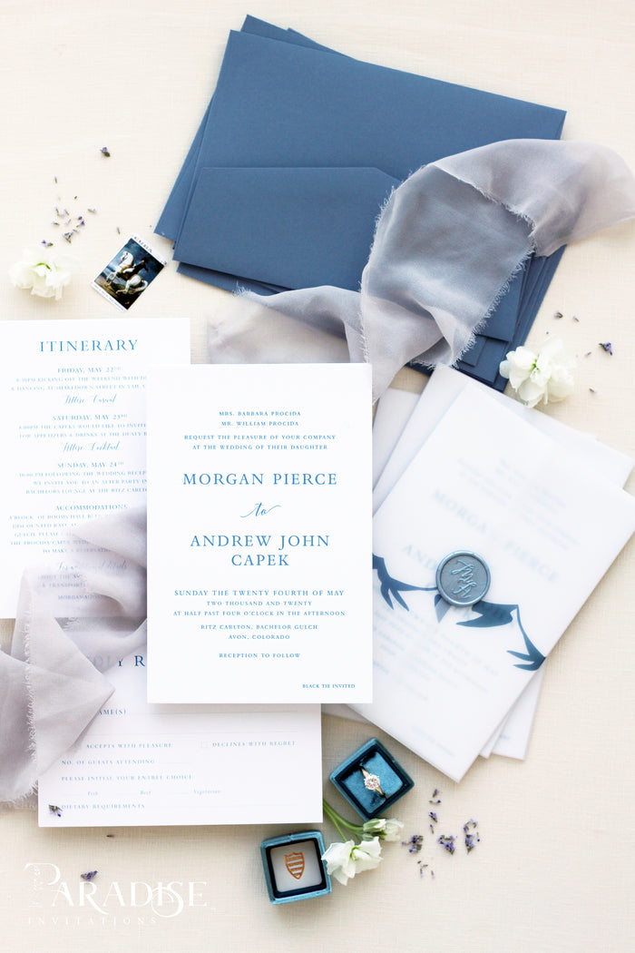 Arielle Dusty Blue Wedding Invitation Sets