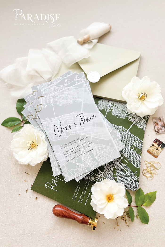 Kennie Modern New York Map Wedding Invitation
