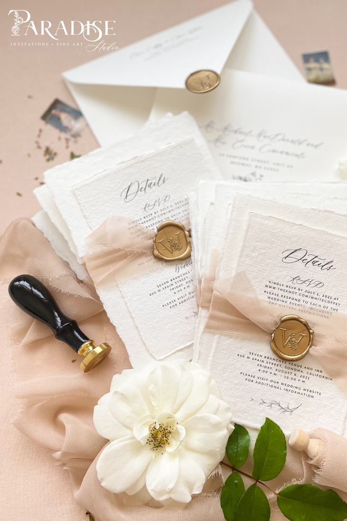 Bailey Handmade Paper Wedding Invitation Sets
