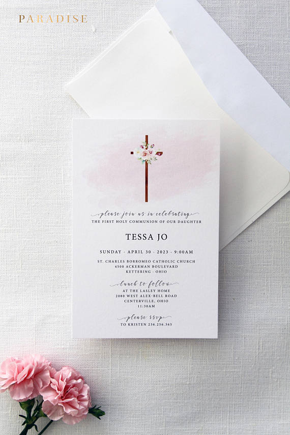 Pink Floral Christian Invitation