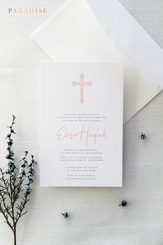 Dusty Rose Christian Invitation