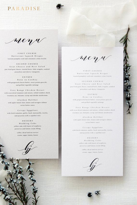 Wedding Menus Wedding Stationery Menus