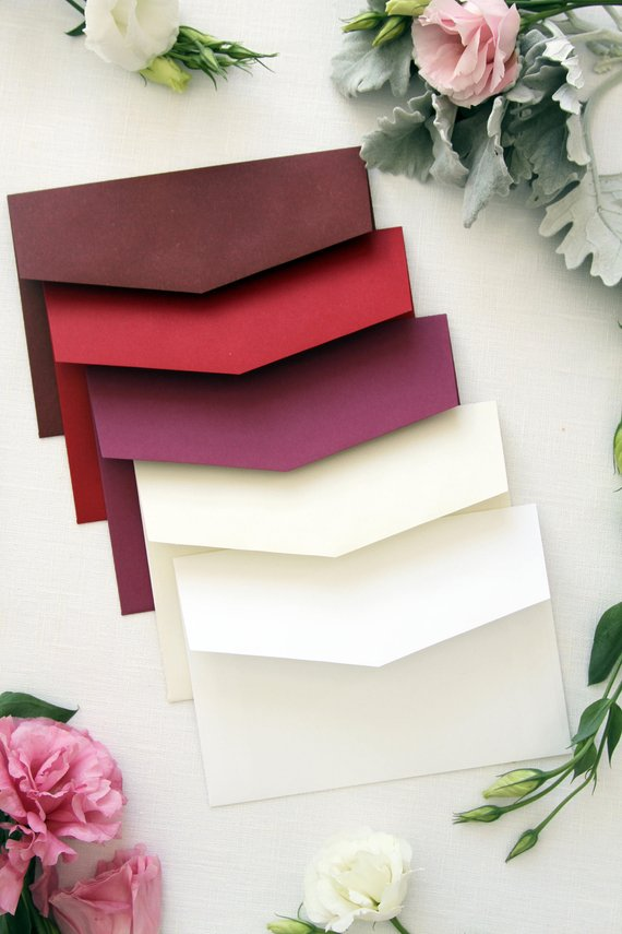 Burgundy, Red and Ivory Envelopes