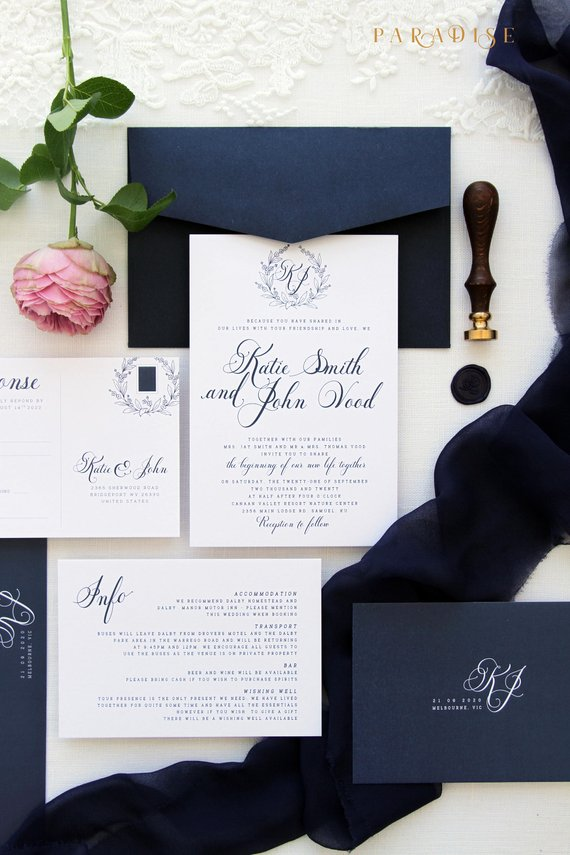Emily Monogram Wedding Invitation