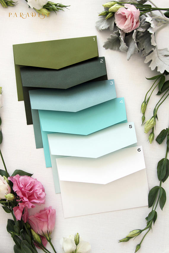 Forest Green, Ivory Envelopes
