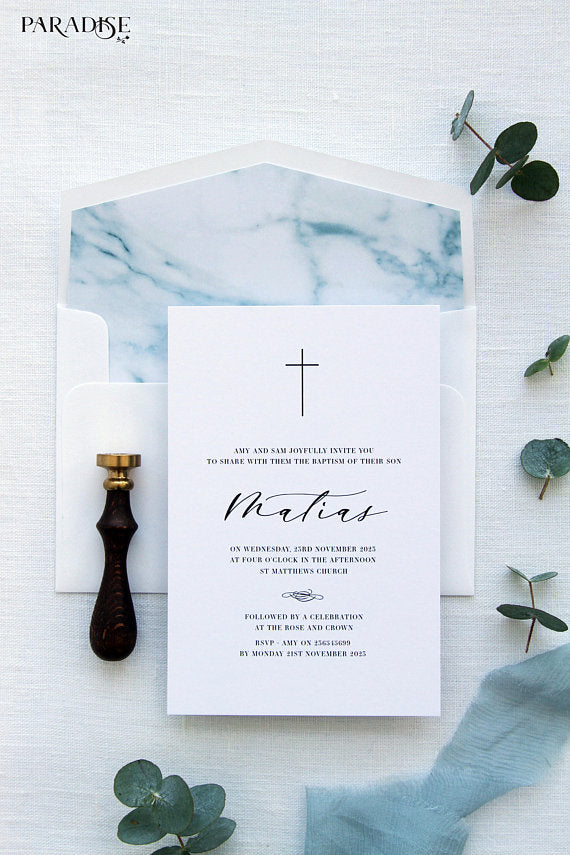 Benjamin Watercolor Christian Invitation