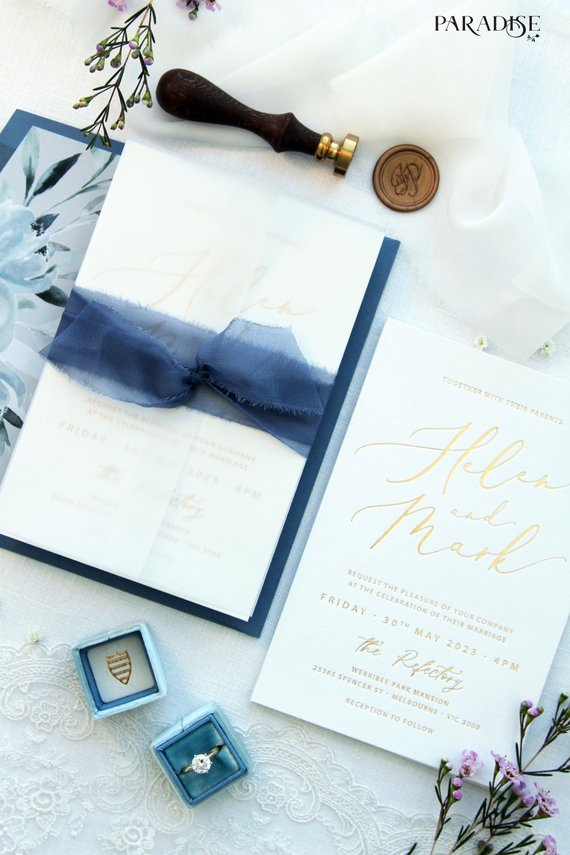 Golden Foil Wedding Invitations Embossed Wedding Invitations