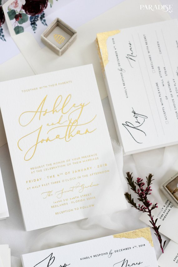 Irene Golden Foil Wedding Invitation