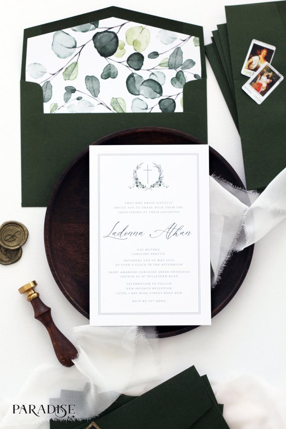 Watercolor Crest Christian Invitation