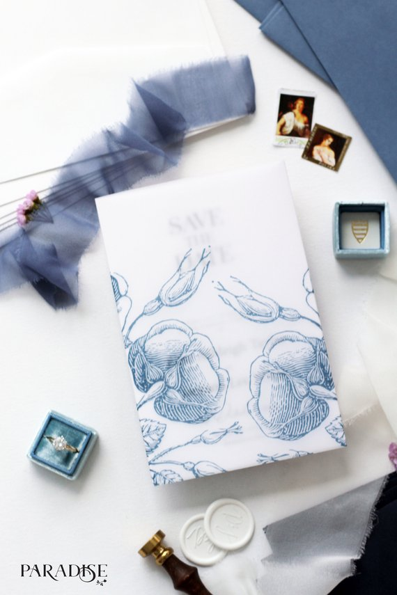 Isaure Vellum Dusty Blue Save the Date
