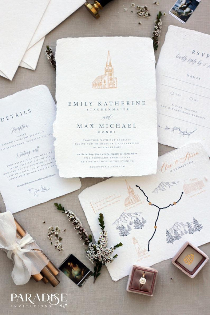 Zurie Handmade Paper Wedding Invitation