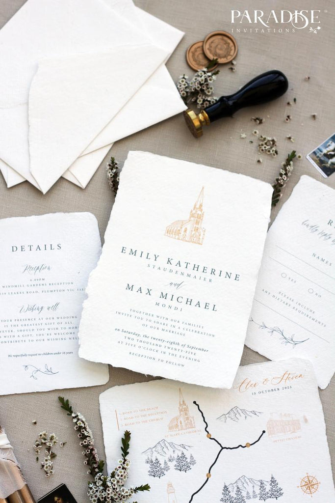 Monica Handmade Paper Wedding Invitation
