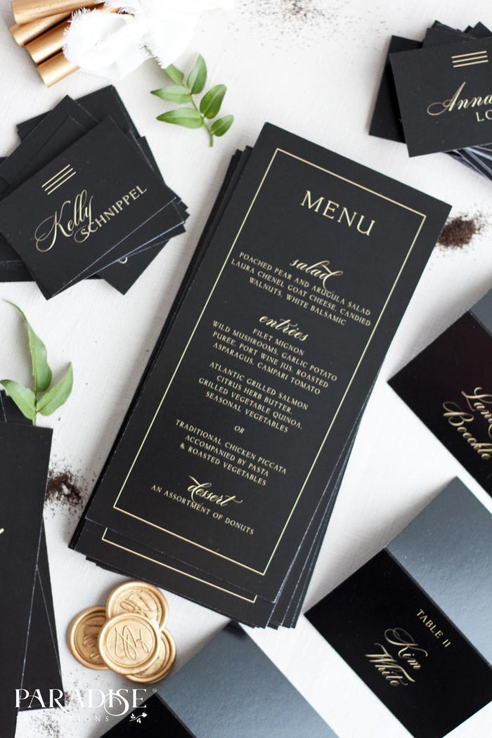 Ashley Elegant Black Wedding Menus