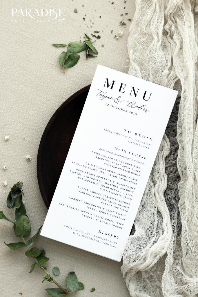 Blondell Modern Calligraphy Wedding Menus