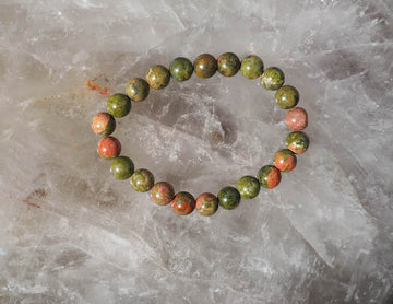 SOLD OUT - Unakite 8mm Round Bracelet
