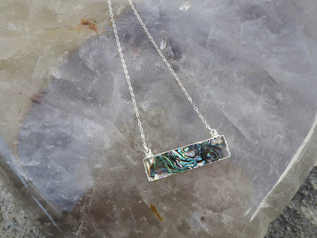 'i am intuitive' - Abalone Bar Necklace w/ Gold Filled Chain