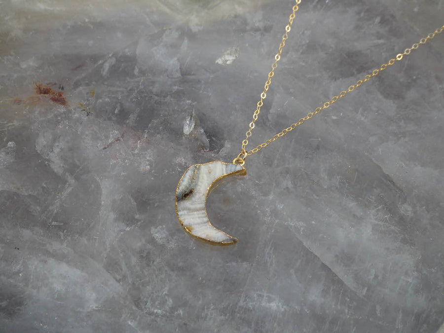 Chalcedony New Moon Necklace 16
