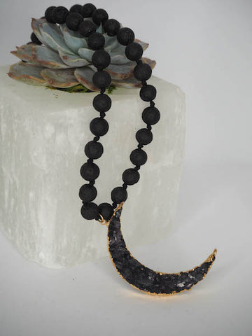 Black Lava Mala with Druzy New Moon