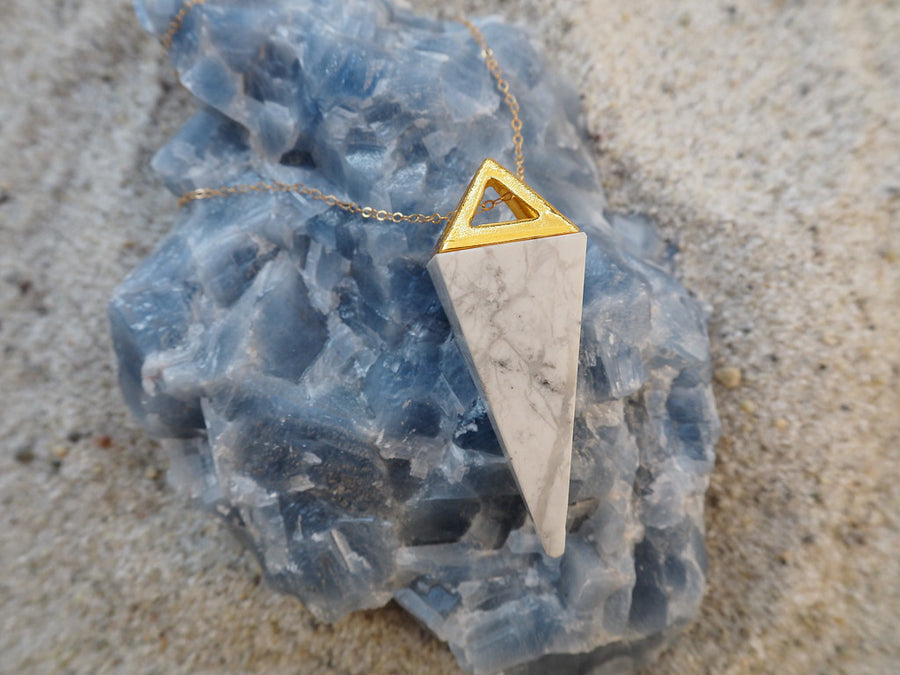 SOLD OUT - ' i am calm ' - White Howlite Pyramid w/ Gold Chain 30