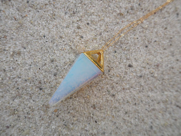 Opalite Pendulum Necklace w/ gold chain - Love Consciously