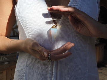 SOLD OUT - Opalite Pendulum Necklace w/ gold chain - Love Consciously