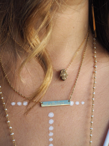 ' i am love ' // gold bar necklace
