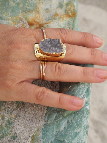 Gold Plated Agate Druzy Cuff Ring
