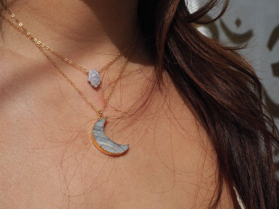 SOLD OUT - Chalcedony New Moon Necklace 16