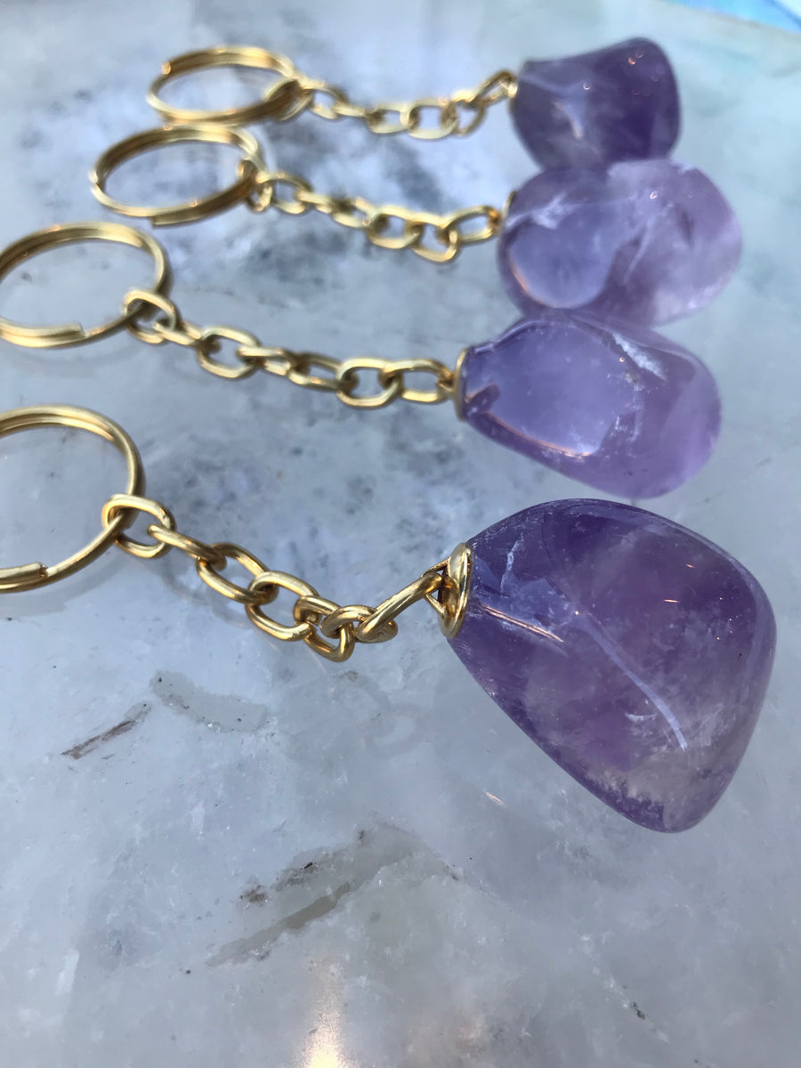 Amethyst  key chainz infused with love