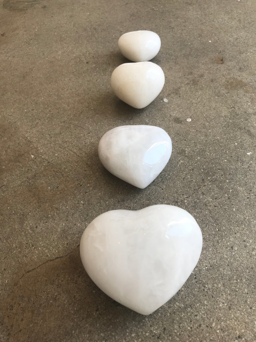 White Dolomite hearts infused with love
