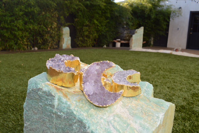 Amethyst New Moon with gold plated trim