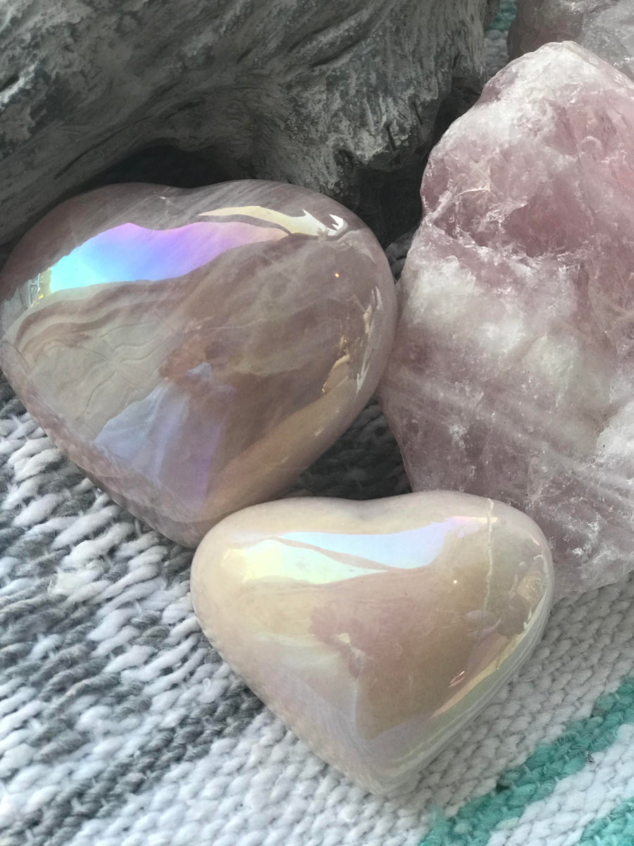 Angel Aura Rose Quartz Heart