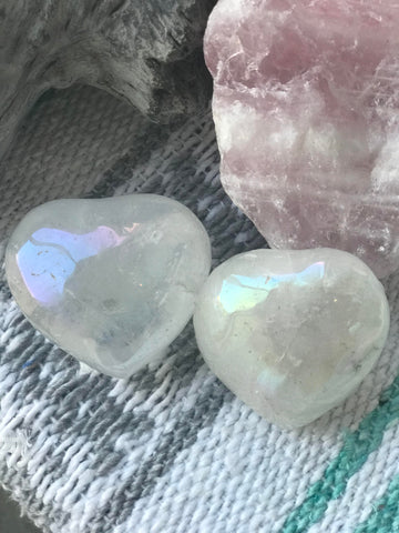 Angel Aura Clear Quartz Heart