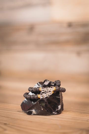 Black Lava Bracelet + Clear Quartz (w/ Gold Bead)