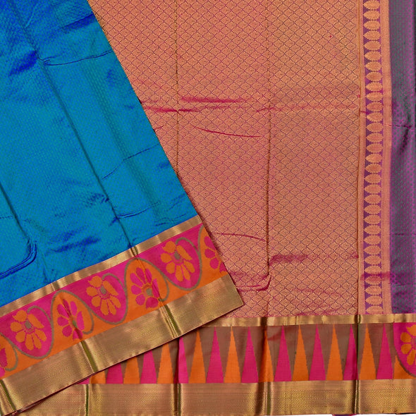 Mulberry | Peacok Blue Color Pure Silk Saree