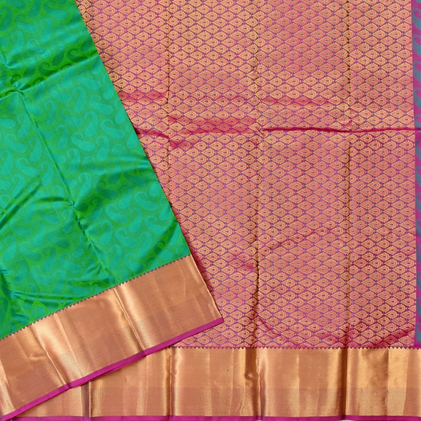Mulberry | Peacock Green Color Pure Silk Saree