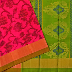 Mulberry | Red Color Ikkat Soft Silk Saree
