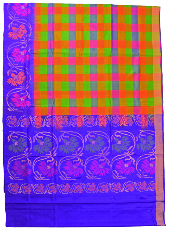 Mulberry | Multi Color Checked Soft Silk Saree