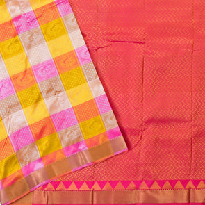 Mulberry | Checked  Silk Mix Saree
