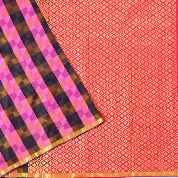 Mulberry | Black/Pink Color Checked  Art Silk Tana Saree