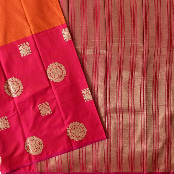 Mulberry | Orange/Red Color Art Silk Saree