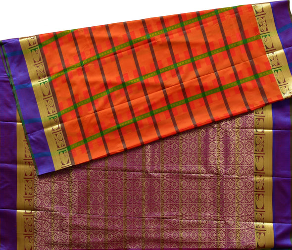 Mulberry | Orange/Violet  Color Art Silk Saree