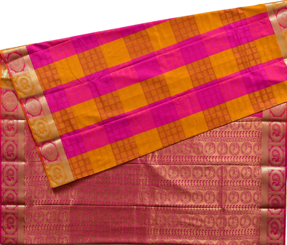 Mulberry | Checked Pink Color Art Silk Saree