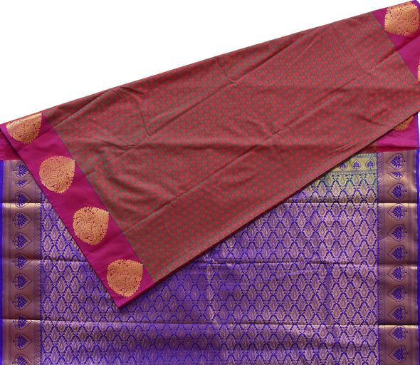 Mulberry | Peacock Border Art Silk Saree