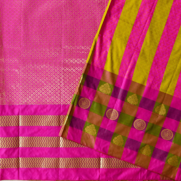 Mulberry | Checked Green Color Art Silk Saree