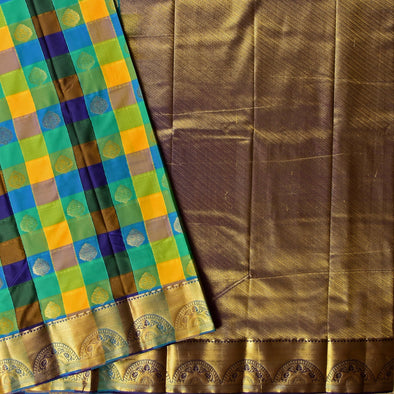 Mulberry | Fancy Checked Art Silk Saree