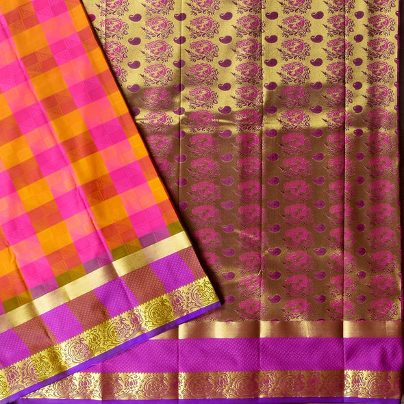 Mulberry | Pink/Gold Checked Art Silk Saree