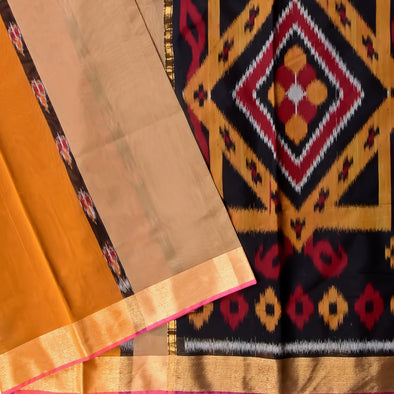 Mulberry | Black/Mustard Color Pure Cotton Saree