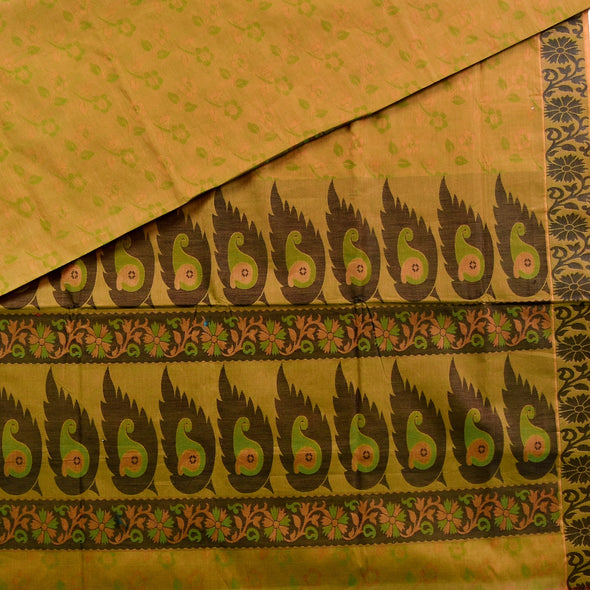 Mulberry | Green Color Pure Cotton Saree