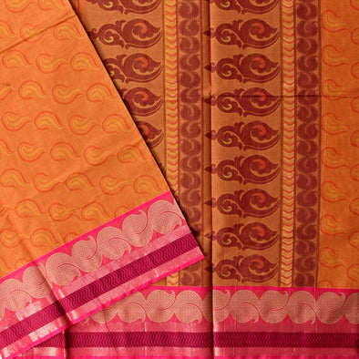 Mulberry | Orange Color Pure Cotton Saree